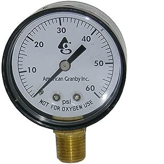 "Swimming Pool or Spa Filter Pressure Gauge, Side Mount 60LB Filter Pressure Gauge 1/4"" Pipe Threads"