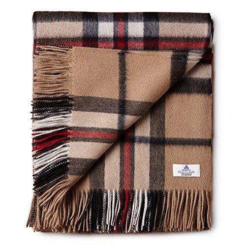 House of Edinburgh Thomson Camel Tagesdecke aus 100 prozent Lammwolle, sehr weich, für Bett/Sofa, Schottenkaro.