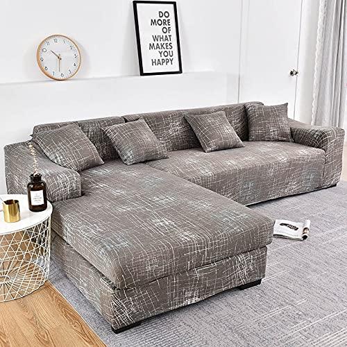 PPOS Fundas de sofá de Esquina con Estampado de celosía para Sala de Estar Fundas elásticas Antipolvo para sofá en Forma de L Protector de Silla Funda de sofá D11 4 Asientos 235-300cm-1pc