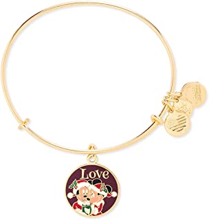 Alex and Ani Disney Parks Christmas Love Mickey and Minnie Santa Bangle Bracelet - Jewelry Gift (Gold)