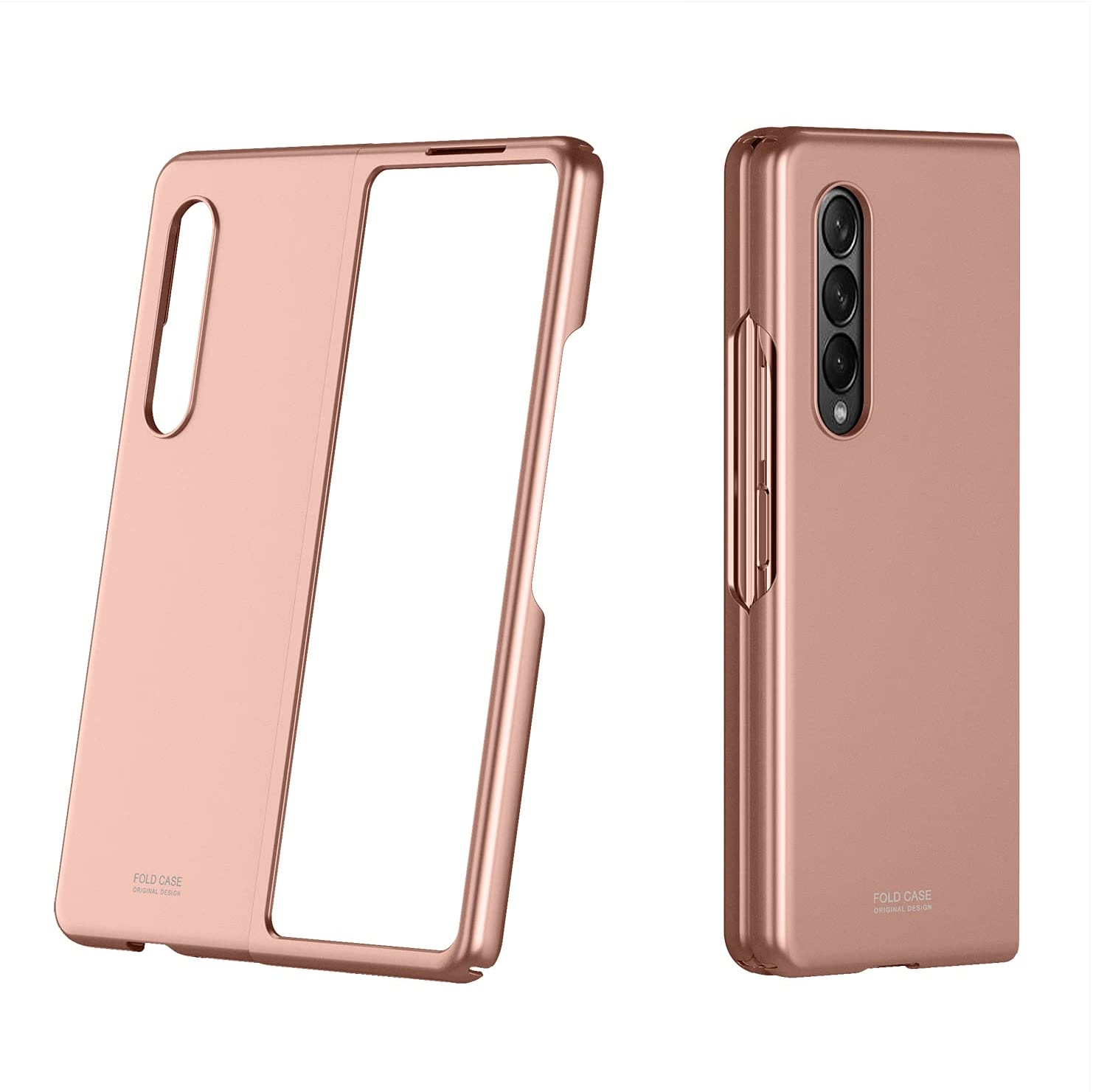 WATACHE for Galaxy Z Fold 3 Case,Thin Hard PC Full Anti-Scratch Shook-Proof Bumper Flip Skin Feel Protective Cover with Matte Finish for Samsung Galaxy Z Fold 3 5G,Rose Gold