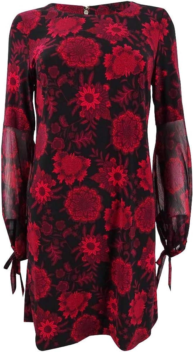 Tommy Hilfiger Womens Red Floral Long Sleeve Jewel Neck Below The Knee Sheath Wear to Work Dress Size 14W