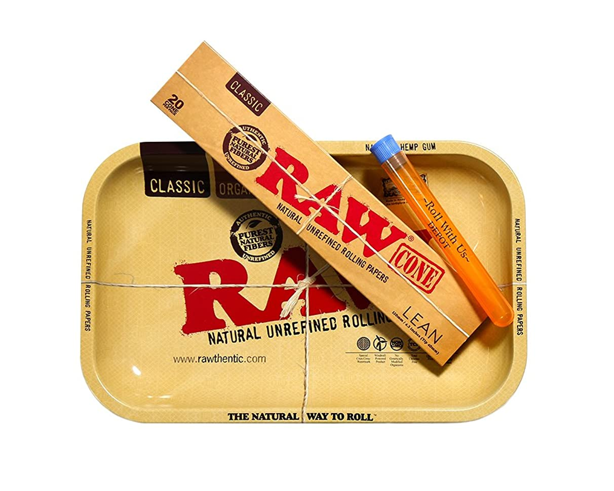 RAW Lean Pre Rolled Cones Combo Includes: RAW Lean Pre Rolled Cones 20 Pack, RAW Rolling Tray, and Roll With Us Depot Doobtube
