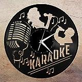 Karaoke - Reloj de pared de vinilo, regalo único para amigos, decoración del hogar, sala de estar, diseño vintage, oficina, bar, decoración del hogar