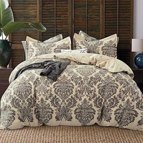 cheap duvet covers kings JUCFHY Duvet Cover King,600 Thread Count Cotton 3pcs King Duvet Covers Sets Taupe Damask Paisley Printed on Khaki,Reversible with Zipper Closure 1 Duvet Cover and 2 Pillow Shams (King,Harrogate)