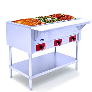 Commercial Electric Steam Table,Electric Food Warmer COOKRATE 110V 3 Open Stainless Steel Steam Warmer Table with Undershelf, Hot Well Food Buffet Table for Restaurant