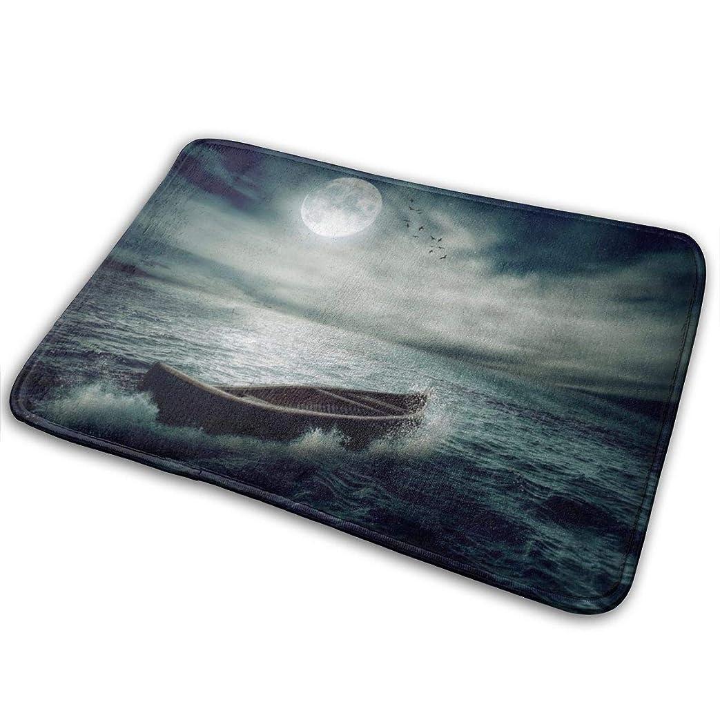 バリアチチカカ湖ブランデー海で漂うボート満月ドラマチックな夜空ライフホープコンセプトアート玄関マット玄関マットフロアマットラグ屋内/玄関/バスルーム/キッチンとリビングルーム/ベッドルームマット23.6 X 15.8インチ