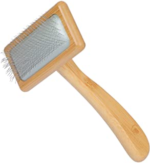 Dog & Cat brush, Pet Slicker Brush with Bamboo Handle for Long Hair & Short Hair Elegant Grooming Comb for Removing Sheddi...