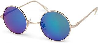 Gafas de sol redondas marco metálico estrecho, diseño retro, patillas con bisagra de resorte, unisex 09020065