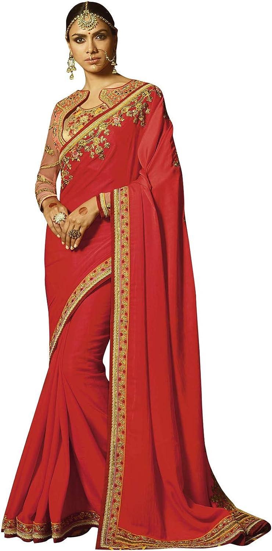 DesiButik's Designer Beautiful Red Japan crape Saree
