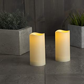 """LampLust Indoor Outdoor Flameless Candles - Set of 2, Warm White LED Glow, Water Resistant, Batteries Included, 3"""" x 6"""" De..."""