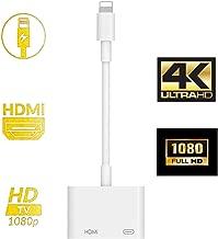 iPhone HDMI 変換アダプタ,ライトニング 変換アダプター digital avアダプタ 設定不要 操作簡単 高解像度 接続ケーブル Lightning HDMI ケーブル スマホ ゲーム TV視聴 iPhone11/11 Pro/11 Pro Max iPhoneX/XR/XS/XS Max/7/7plus/8/8plus (IOS12、13対応)