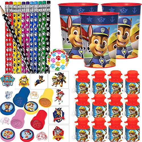 Paw Patrol Birthday Party Favors and Goodie Bag Fillers Pack For 12 With Paw Patrol Favor Cups, Pencils, Stampers, Tattoos, MINI Bubbles, and Exclusive Paw Print Pin
