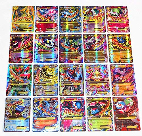 Flyglobal Pokemon Karten GX Sammelkarten, Pokemonkarten 60 Stück Set 60Mega ex Pokemon-Karten Pokemon Cards Kinder Pokemon Kartenspiele