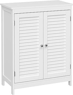 VASAGLE Bathroom Floor Storage Cabinet with Double Door Adjustable Shelf, 23.6 x 11.8 x 31.5 Inches, White UBBC340W01