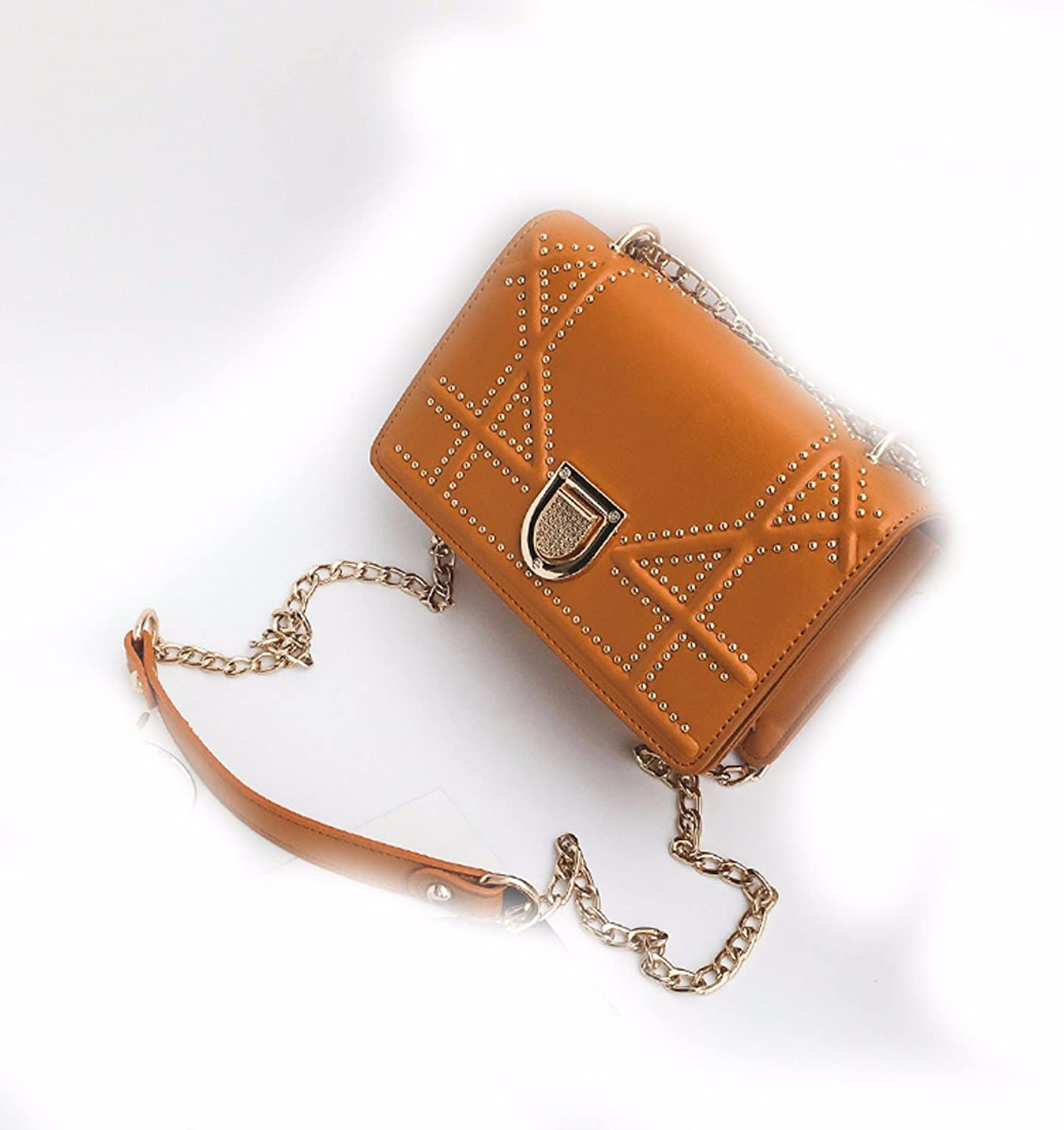 GTVERNHWomen Fashion Handbag AllMatch Women's Bag, Satchel Bag, Shoulder Bag, Handbag, Rivet Chain Bag, Small Square Bag.