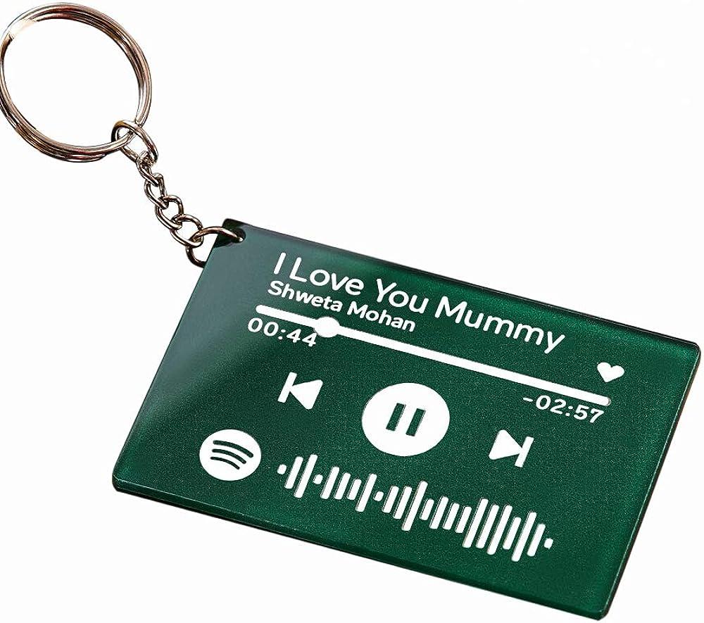 Custom Scannable Spotify Code Music Plaque Keychain Acrylic Keyring for Women