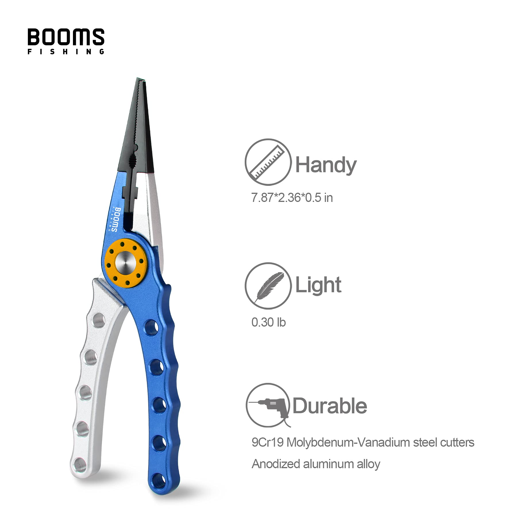 Booms Fishing X1 Aluminum Fishing Pliers Saltwater, Surf Fishing Tackle Kit, Fishing Multitool Hook Remover Braided Fishing Line Cutting and Split Ring with Coiled Lanyard and Sheath