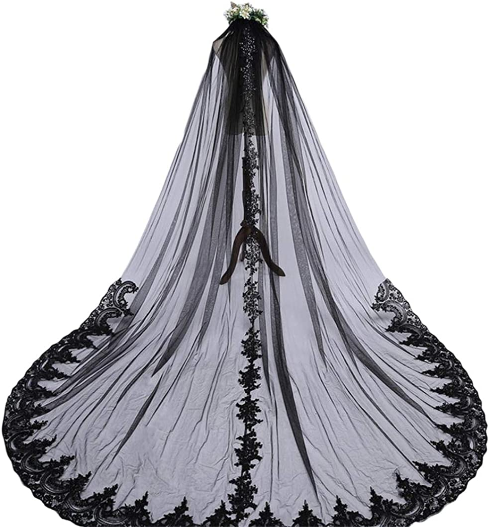 Faiokaver Black Wedding Veils for Bride 1 Tier Floral Lace Cathedral with Comb