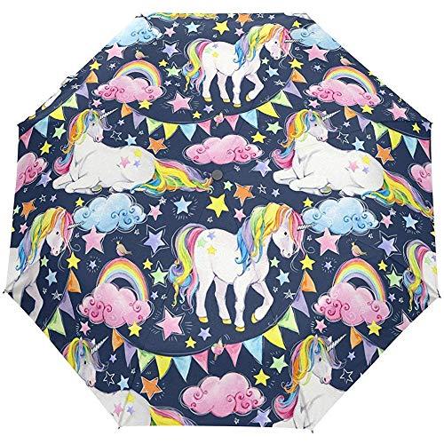 Vintage Regenbogen Geburtstag Auto Öffnen Schließen Regenschirme Anti UV Folding Compact Automatic Umbrella