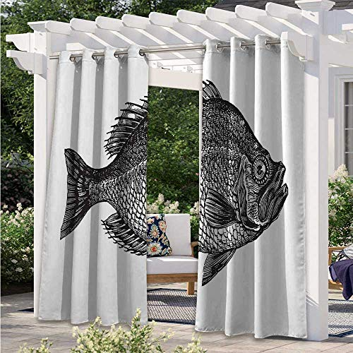 Adorise Patio Curtain Vintage Design Rock Bass Fish Figure Hand Drawn in and Aquatic Image Thermal Insulated, Sun Blocking Blackout Curtains Perfect for Sliding Door/Foyer/Arbor/Lanai W120 x L96 Inch
