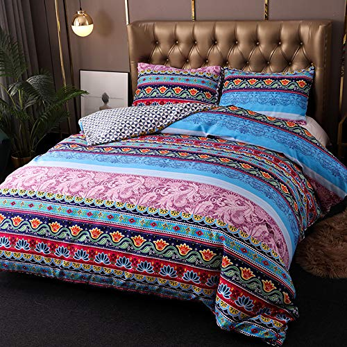 N/F Bohemian Kng Size Duvet Cover Set 3 Pieces Bohemian Moroccan Microfiber Bedding Set Soft Lightweight Mandala Boho Quilt Cover with 2 Pillowcase (King 220x240cm)