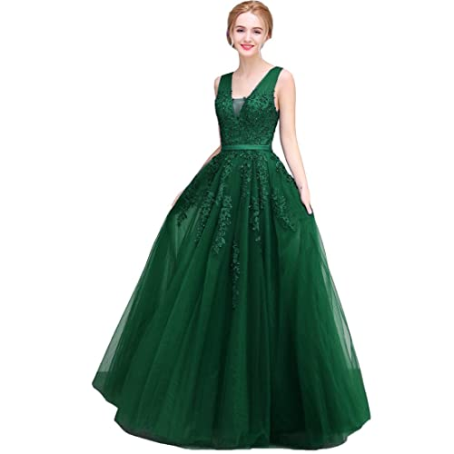 cea14ac908 Lemai Tulle Beaded Lace Appliques Long Prom Evening Dress Bridesmaid