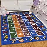 Ottomanson Jenny Collection Light Blue Frame with Multi Colors Kids Children's Educational Alphabet (Non-Slip) Area Rug, Blue, 8'2' x 9'10'