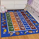"Ottomanson Jenny Collection Kids' Non-slip Educational Alphabet Design Area Rug , 5'0"" X 6'6"", Multicolor"