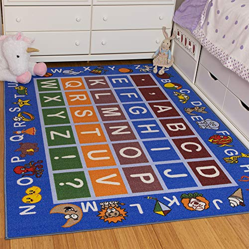 "Ottomanson Jenny Collection Light Blue Frame with Multi Colors Kids Children's Educational Alphabet (Non-Slip) Area Rug, Blue, 5'0"" x 6'6"""