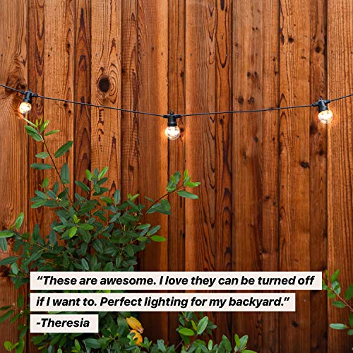 Brightech Ambience Pro - Waterproof Solar LED Outdoor String Lights - 1W Retro Edison Filament Bulbs - 27 Ft Globe Lights Create Bistro Ambience In Your Yard, Pergola - Soft White