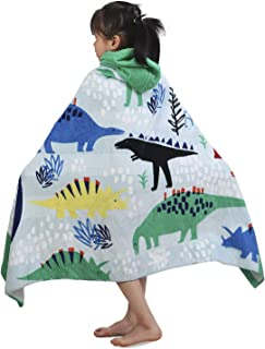 YISUN Kids Hooded Bath Towel, 100% Cotton Bath Towel Dinosaur, Super Soft & Absorbent Cotton Towel, Premium Hooded Towel for Boys Girls Bath Swimming Beach Holiday - 50x30 Inch