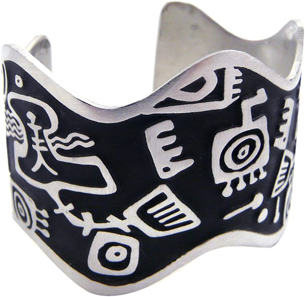 Primordial Soup Stylized Pattern Solid Pewter Ame Now free shipping free shipping Cuff Bracelet