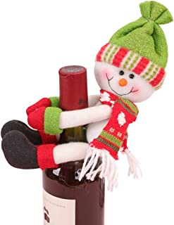 Christmas Wine Cover Snowman Red Wine Bottle Cover for Christmas Decoration and New Year Holiday Party Table Decoration