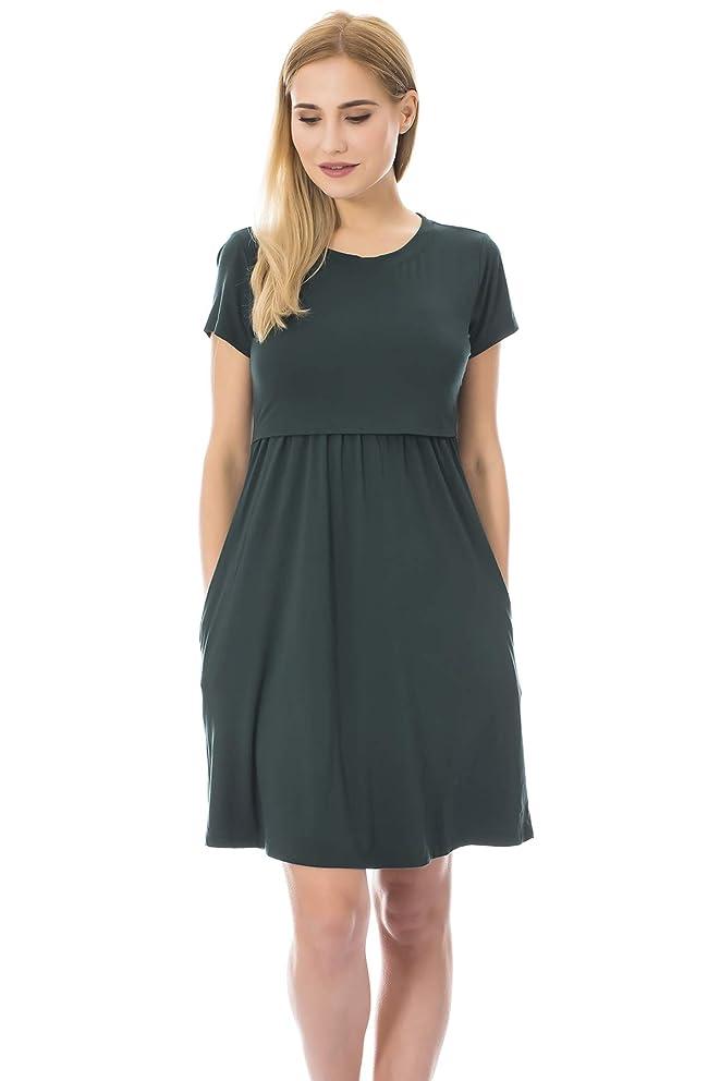 Bearsland Women's Short Sleeves Maternity Dress Nursing Breastfeeding Dresses with Pockets