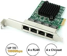 Network Card,Ethernet Adapter,Ethernet Card,Ubit Gigabit Ethernet with Heatsink Technology,PCIe 4-Port Network Controller Card 1000Mbps RJ45 LAN Adapter Converter for Desktop PC