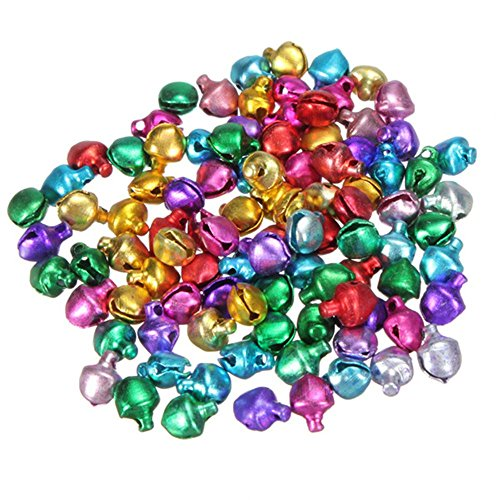 500 Pieces Craft Bells Small/Mini Jingle Bells Loose Beads Bell Ornament by EORTA for Art Festival Christmas Decor Sewing Cards Making DIY, 6mm, Multicolor