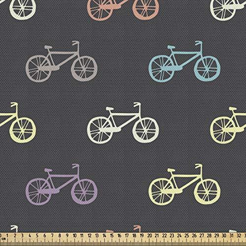 ABAKUHAUS Vélo Tissu au mètre, Vélo Retro Thème Vélo, Tissu en Polyester Décoratif pour Rembourrage et Décoration d'Intérieur, 1M (148x100cm), Multicolore