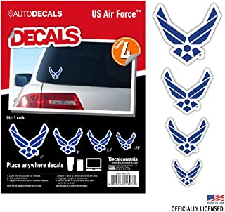 Officially Licensed U.S. AIR Force Decals - 4 Piece US Military Stickers for Truck or Car Windows, Phones, Tablets & Laptops – Large Military Decals 1.75 to 4 Inches – Car Decals Military Collection