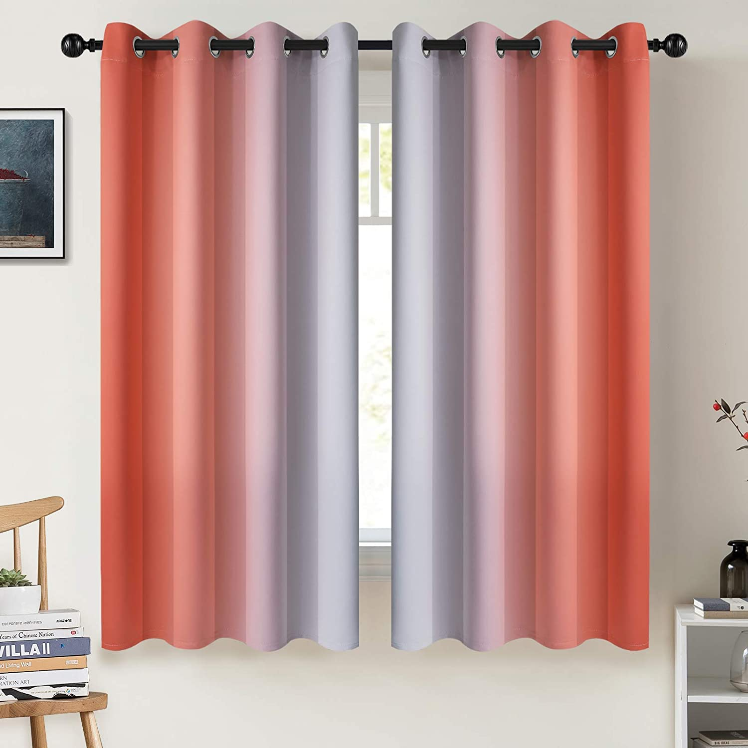 COSVIYA Challenge the lowest price Grommet Ombre Room Fort Worth Mall Darkening 63 Curtains inch Length Co