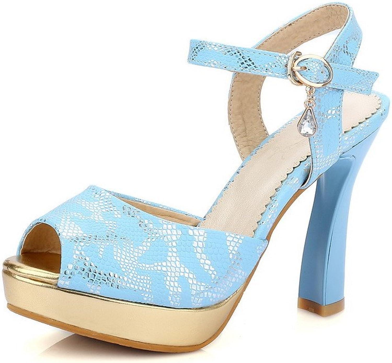 AmoonyFashion Women's Soft Material Buckle Peep Toe High-Heels Assorted color Heeled-Sandals