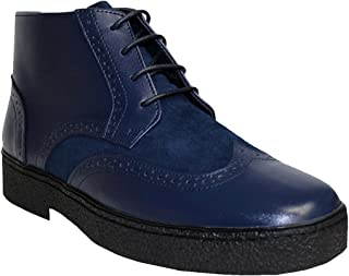 Rocker British Style - Chukka Wingtip Mens Navy Leather Shoes (Playboy Style # 5613)
