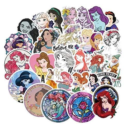 YOUYOU Pegatina de princesa de Disney Frozen 2 pegatinas para nevera, computadora lavadora, teléfono móvil, escritorio, decoración de escritorio, 100 unidades