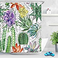 WASHZD 180*180cm Waterproof Shower Curtain Cactus Polyester Fabric Shower Curtain Bathroom Curtain Home Decoration-9446_150*180cm