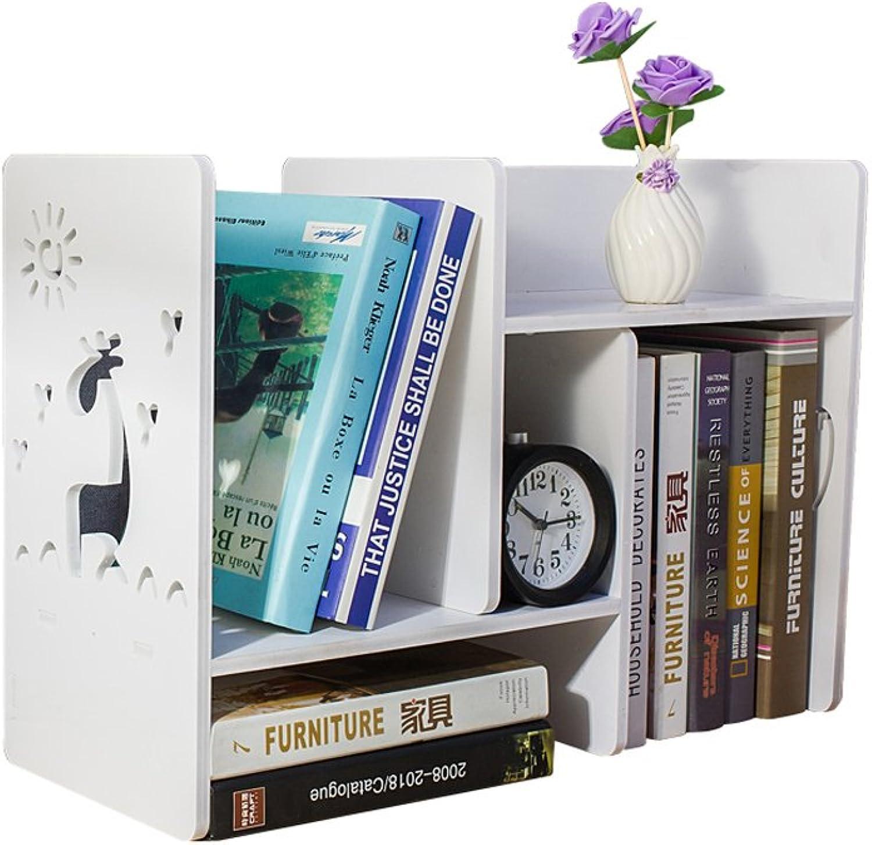 Desktop Organiser Shelf, Wood-plastic Composites Cut-Out Shelf Unit Desk Caddy Small Desktop Book Storage Rack-Home-Neat DIY Wooden Book Shelf Storage Rack (L60W20H37cm) (color   1)