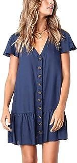 CAIYING Women Summer Stylish Ruffles Short Sleeve Button Down Loose Dresses Casual V Neck Tunic T-Shirt Dress