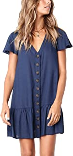 CAIYING Women Summer Stylish Ruffles Short Sleeve Button Down Loose Dresses Casual V Neck Tunic T-Shirt Dress