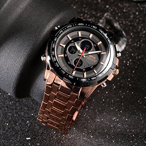 OTS - Reloj de Pulsera de Acero Inoxidable con Doble Pantalla Resistente al Agua para Hombre (Color: café y Negro)