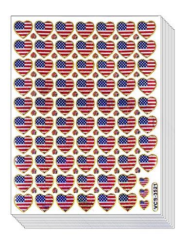 HEARTUSA - 10 Sheets Heart Shaped American Flag Self-Adhesive Glitter Metallic Foil Reflective Sticker Decorative Scrapbook for Kid, Birthday, Photo, Card, Diary, Album