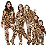 Footed Pajamas - Family Matching Cheetah Print Hoodie Onesies for Boys, Girls, Men, Women and Pets (Kids - Medium (Fits 4'6-4'8')) Tan